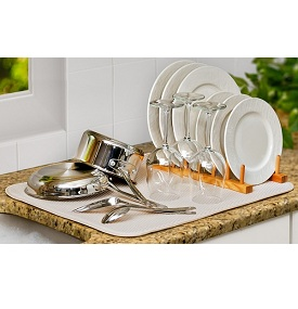 kitchen dish drying mat stainless steel faucet envision home cream to hand wash dishes 2 sizes