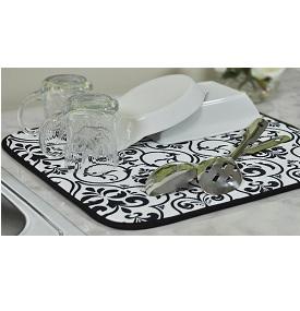 kitchen dish drying mat rug runner envision home black white damask