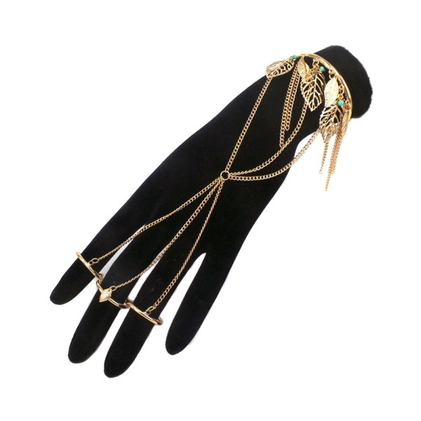 Bcl020 Metal Leaf Cuff Bracelet With 3 Attached Rings
