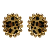 EMY1123 GLE Leopard Print With Stones Fashion Earrings