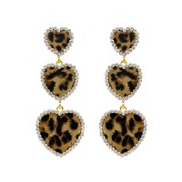 EMY1127 GLE Dangly Leopard Print Hearts Fashion Earrings