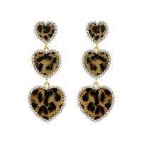 EMY1127 GLE Dangly Leopard Print Hearts Fashion Earrings