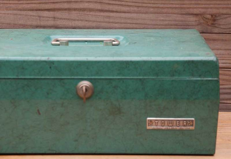 green mid-century bank box