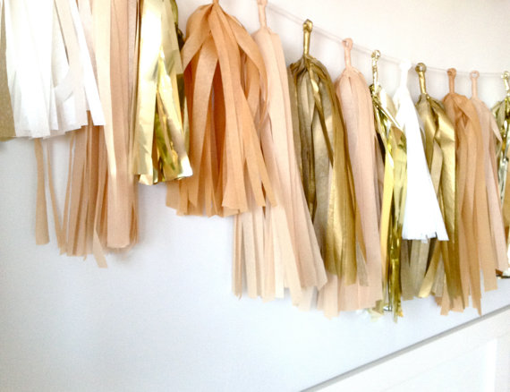 Gold and blush tissue paper garland