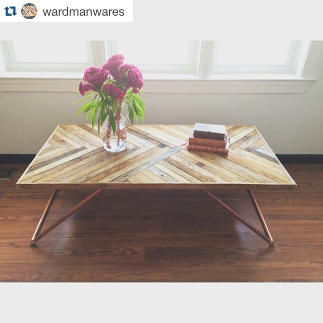 Introducing our Park View coffee table from our new handmade retail boutique @Wardmanwares.  Lots more beauties and website coming soon!!!・・・Meet our Park View coffee table, made with reclaimed wood and chic copper legs.  Handmade with ️ from DC. Coming soon to our new online store for $399! Email us at info@wardmanwares.com to buy.#reclaimed #salvaged #madeintheusa #dc #welovedc #handmade #industrial  #acreativedc #interiordesign #vintagerentals #furniture #made #create