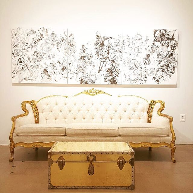 Our Dalton sofa and gold steamer trunk getting situated for wedding number five today at @blindwhino in DC! #wedding #dc #dcevents #dcwedding #eventdesign #vintage #vintagerentals #gold #acreativedc