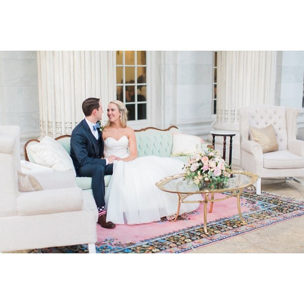 We are a sucker for blush, mint, and gold weddings, especially when an adorable couple is on our fav Natalie mint sofa. ? by @abbygracephoto || Planning by @gritandgraceinc  #weddinginspiration ||  by @brookhillflorist || #vintage #mint #gold #acreativedc #event #wedding #dcwedding #bride #antique #vintagefurniture #dc #loungefurniture