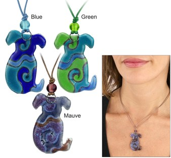 Fused glass dog necklace.