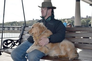Honey and Mike at Waterfront Park in Charleston.