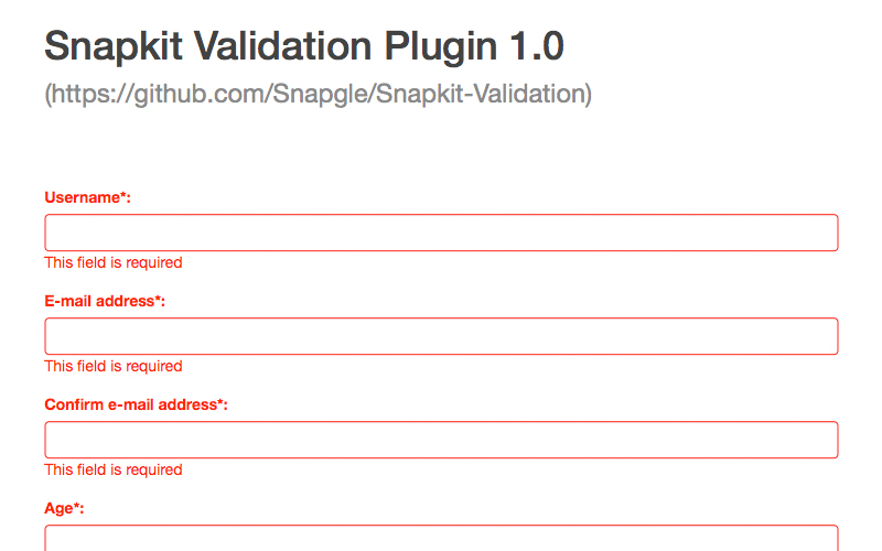 snapkit-validation-form-plugin