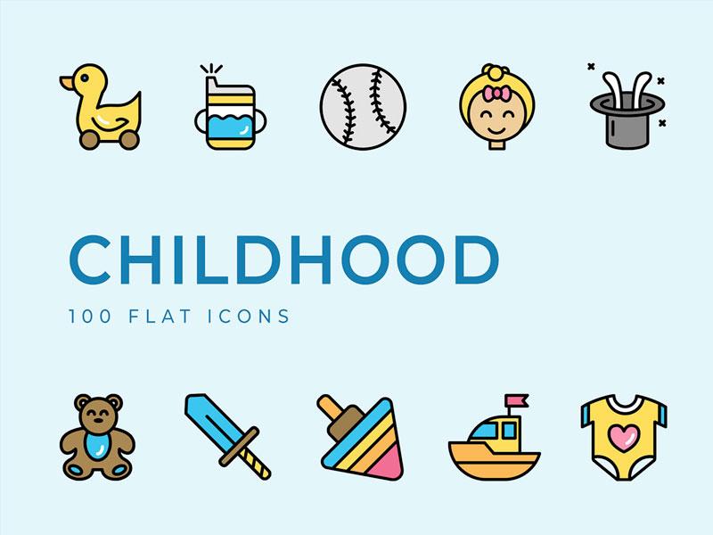 Childhood Flat Icons Set