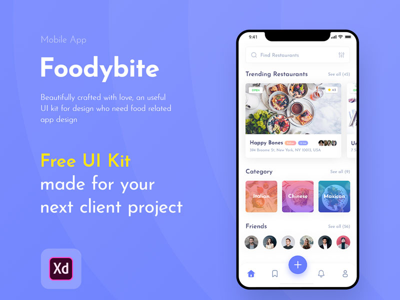 Foodybite Is A Free Ui Kit For Adobe Xd