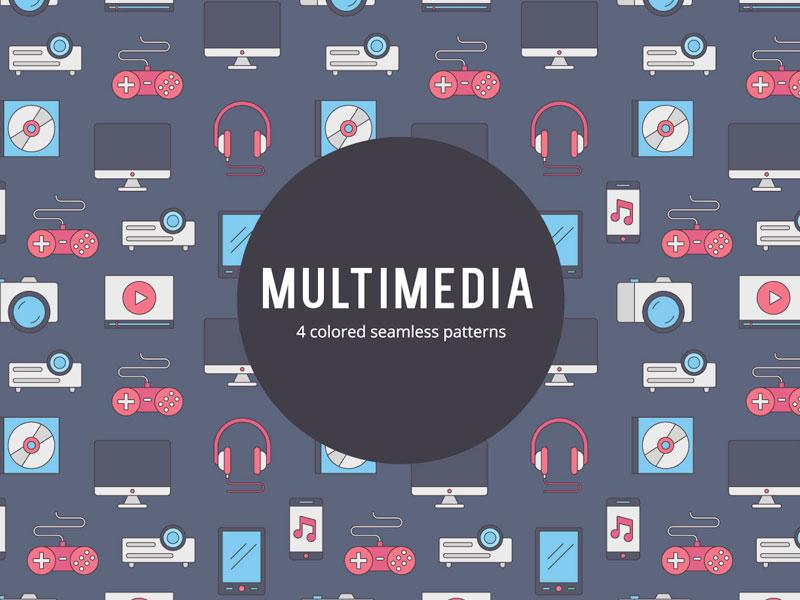 Multimedia Vector Free Seamless Pattern