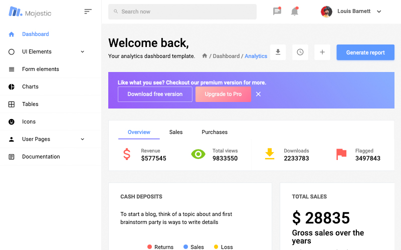 Majestic Admin Free Bootstrap Admin Template