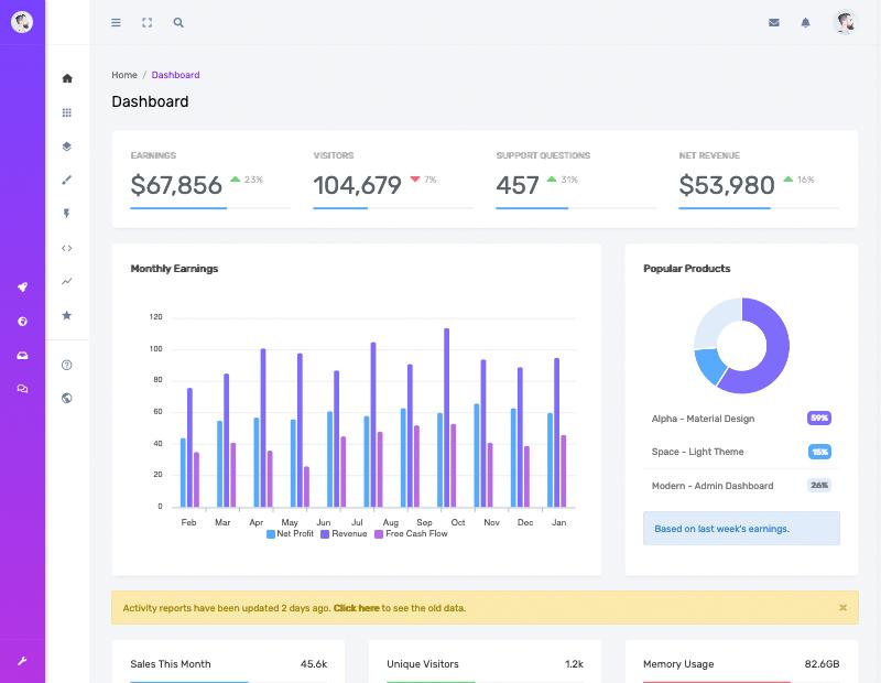 Concept Bootstrap Admin Dashboard