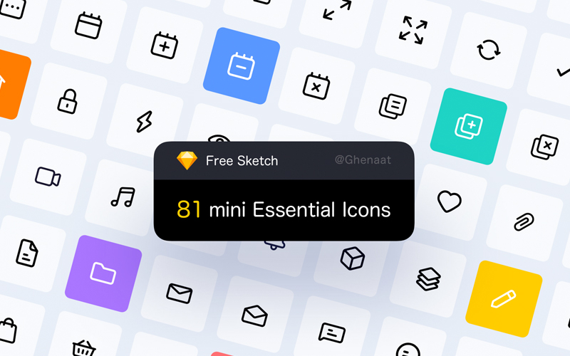 81 Mini Essential Icons Free Download