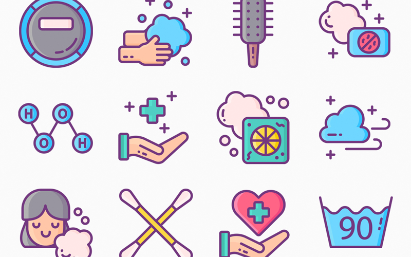 60 Hygiene Icon Set