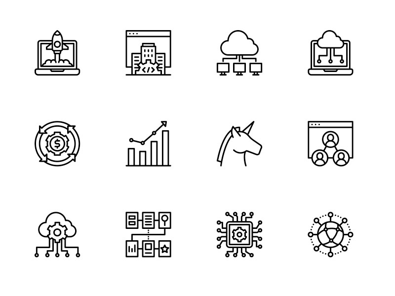 50 Startups And Saas Icons