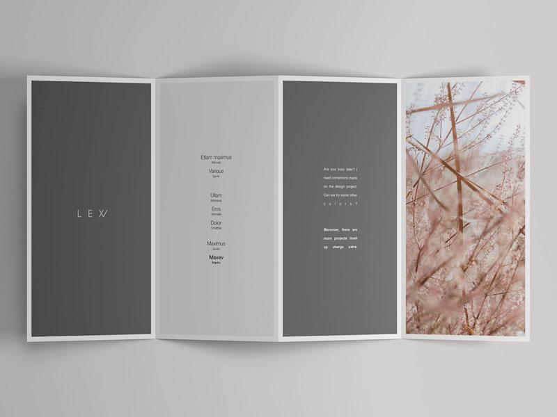 4 Fold Open Brochure Mockup