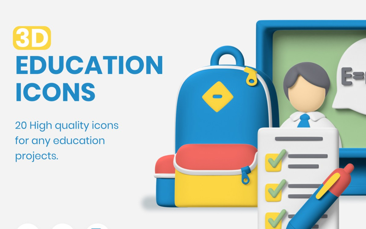 3d Education Icons