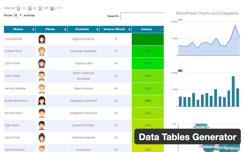 Data Tables Generator Plugin