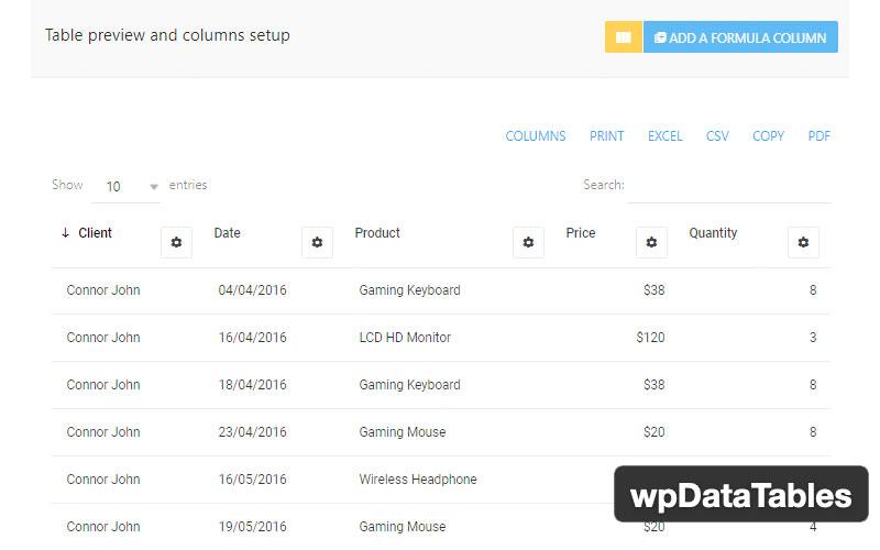 Wpdatatables Plugin