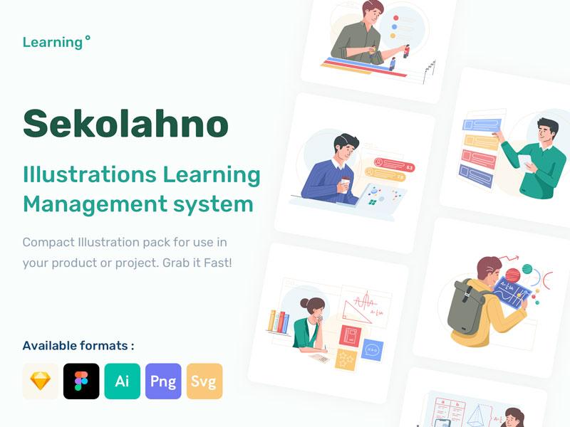 Learning Management System Illustration Pack