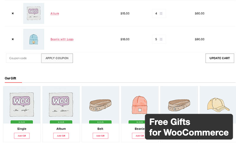 Free Gifts For Woocommerce Lite