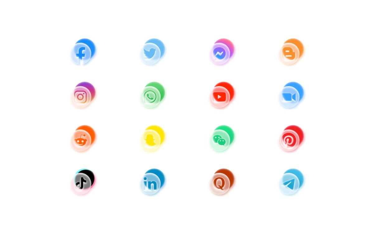 Social Media Glass Icons