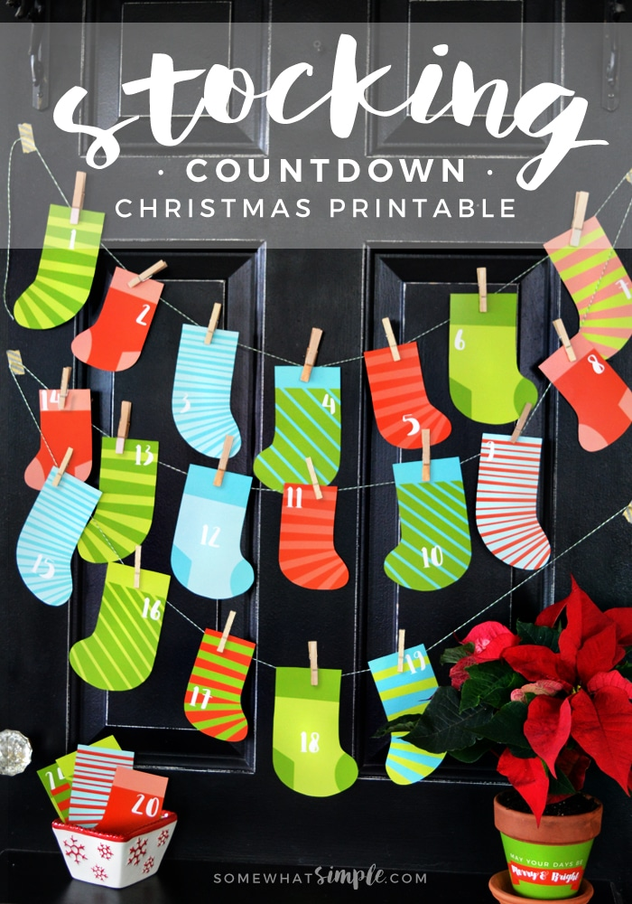 photo regarding Christmas Stocking Printable named Stocking Xmas Countdown Printable