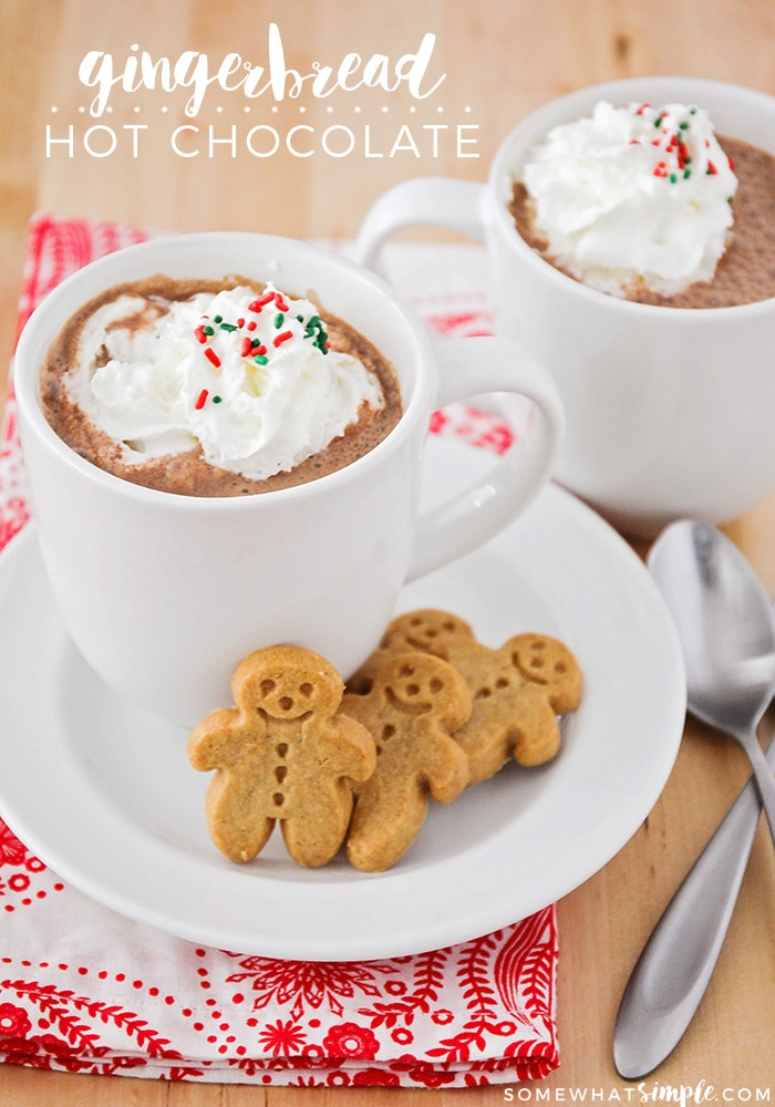 This delicious gingerbread hot chocolate is the perfect warm drink to celebrate the holiday season! So creamy and smooth, with a sweet gingerbread flavor!