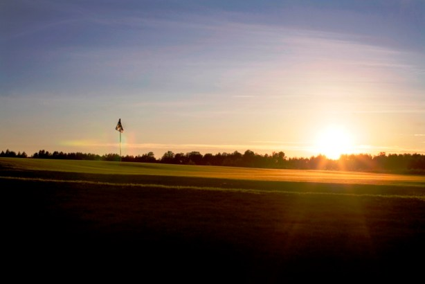 060908 Karlstad Sweden / Photo Christer Höglund / The 5th green at the Links course at Sommaro GK in Karlstad, the course is build on the old airfield in Karlstad,