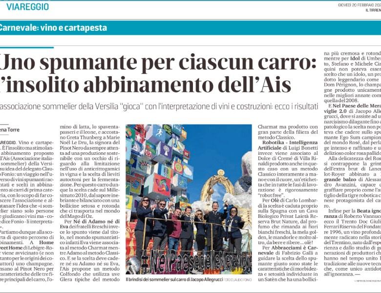 Carnevale di Viareggio e Spumanti – un' insolita accoppiata