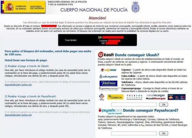 Imagen del famoso virus de la policía