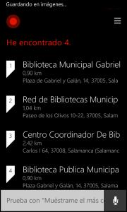 Cortana mostrando las bibliotecas
