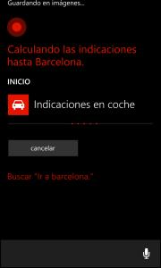 Cortana muestra las indicaciones