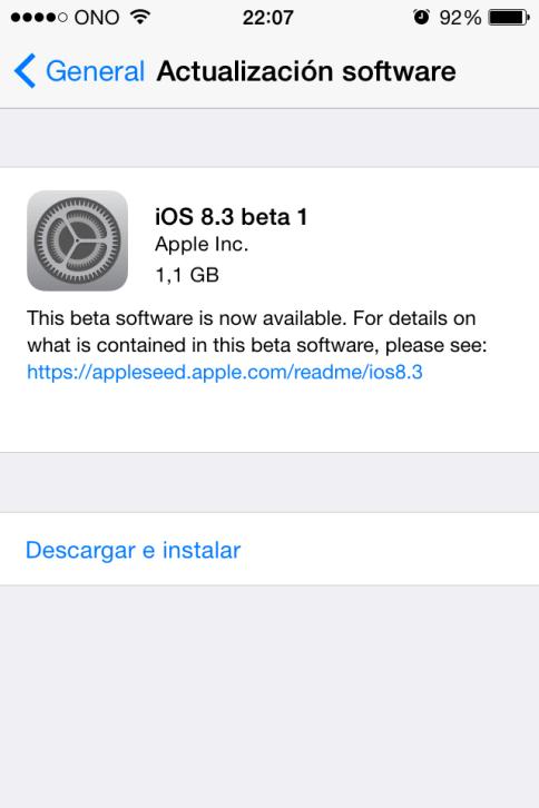 Instalar iOS 8.3 beta 1 sin ser desarrollador