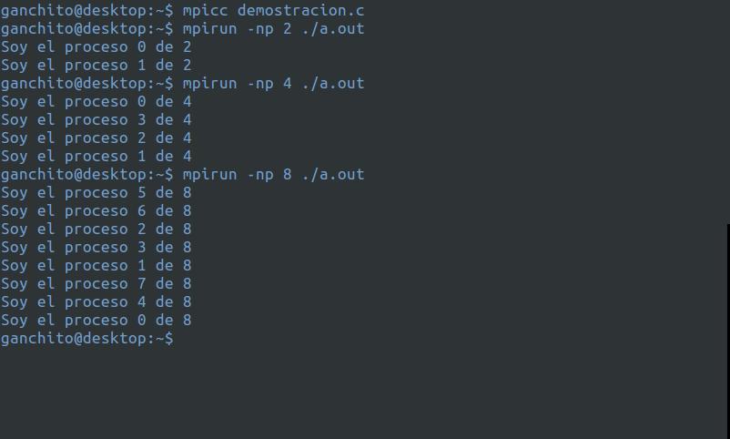 Ejemplo de la ejecución de código MPI