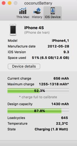 Estado de la batería de mi iPhone