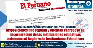 """RVM Nº 238-2019-MINEDU, Aprueban Norma Técnica denominada """"Disposiciones que regulan y orientan el proceso de incorporación de las instituciones educativas existentes al Registro de Instituciones Educativas"""""""