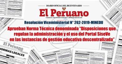 """RVM N° 262-2019-MINEDU, Aprueban Norma Técnica denominada """"Disposiciones que regulan la administración y el uso del Portal SíseVe en las instancias de gestión educativa descentralizada"""""""
