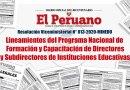 R.VM. N° 013-2020-MINEDU, Lineamientos del Programa Nacional de Formación y Capacitación de Directores y Subdirectores de Instituciones Educativas, www.minedu.gob.pe