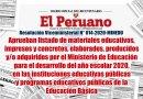 R.VM. N° 014-2020-MINEDU, Aprueban listado de materiales educativos, impresos y concretos, elaborados, producidos y/o adquiridos por el Ministerio de Educación para el desarrollo del año escolar 2020, en las instituciones educativas públicas y programas educativos públicos de la Educación Básica