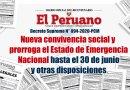 D.S. Nº 094-2020-PCM: Nueva convivencia social y  prorroga el Estado de Emergencia Nacional hasta el 30 de junio y otras disposiciones