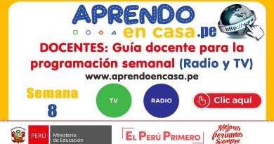 DOCENTES: Guía docente para la programación semanal (Radio y TV) [APRENDO EN CASA]