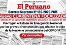 Nueva CUARENTENA FOCALIZADA, Del 01 al 31 de agosto de 2020, Prorrogan el Estado de Emergencia Nacional por las graves circunstancias que afectan la vida de la Nación a consecuencia del COVID-19, D.S. Nº 135-2020-PCM