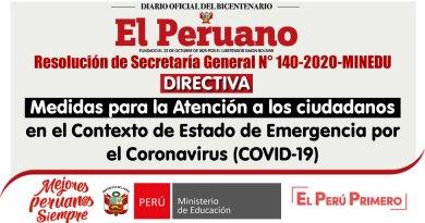 DIRECTIVA: MEDIDAS PARA LA ATENCIÓN A LOS CIUDADANOS en el Contexto de Estado de Emergencia por el Coronavirus (COVID-19) [RSG. N° 140-2020-MINEDU][Descargar]