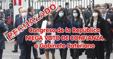 Congreso de la República NIEGA VOTO DE CONFIANZA  a Gabinete Cateriano