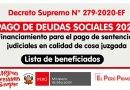 D.S. N° 279-2020-EF: PAGO DE DEUDAS SOCIALES 2020, financiamiento para el pago de sentencias judiciales en calidad de cosa juzgada