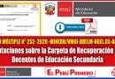 Orientaciones sobre la Carpeta de Recuperación para Docentes de Educación Secundaria [OFICIO MÚLTIPLE N° 252- 2020 -MINEDU/VMGI-DRELM-UGEL.05-AGEBRE  ]